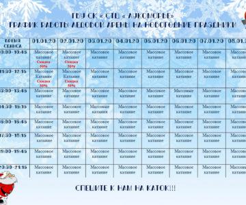 График работы ледовой арены в новогодние праздники